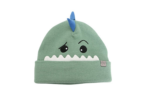 Front view of green knitted toque with dinosaur face stitched onto front-blue scales sticking up from crown