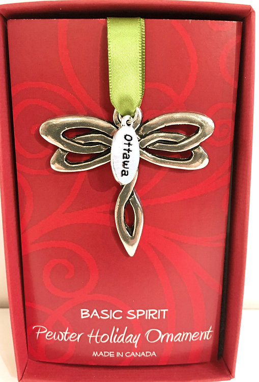 Top view of Pewter Dragonfly Ornament on green ribbon in red box with little tag, text 'Ottawa'