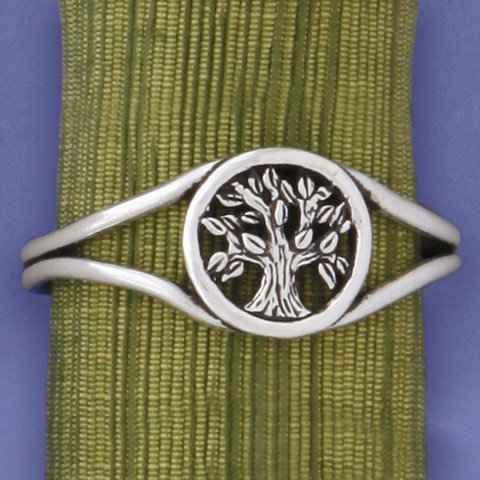 Pewter Tree of Life Cuff Bracelet-double band of pewter opens to surround leafy tree in circle at center