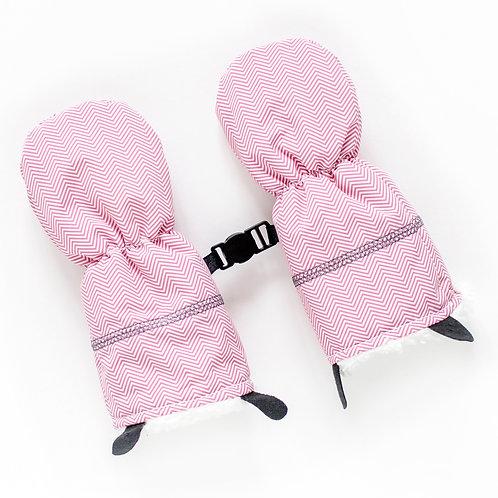 Pair of pink herringbone baby mitts