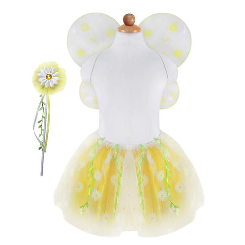 Mannequin showing yellow&white multi-layered tutu skirt-matching wings set & daisy wand with green ribbons