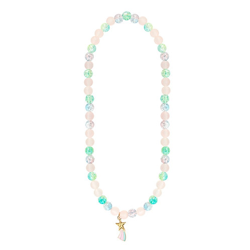 Child's dress-up necklace with sparkly pink, blue & aqua beads and shooting star pendant