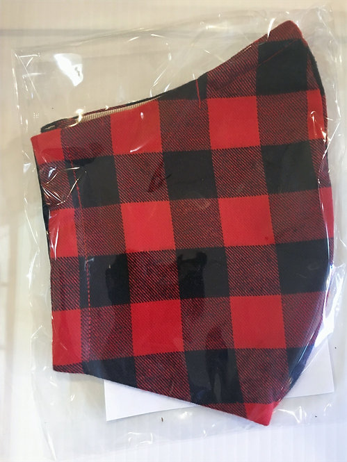Reusable Protective Mask - Buffalo plaid red and black checks, in clear plastic package