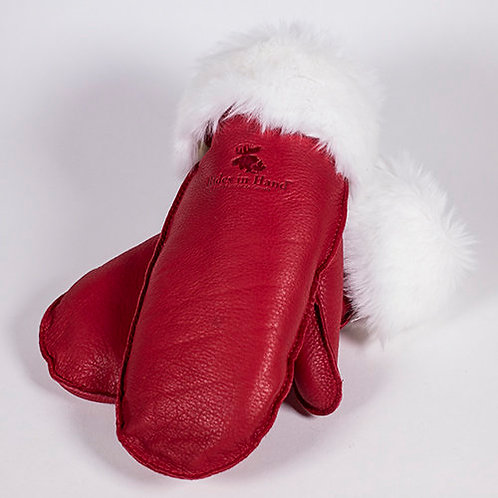 pair of red deerskin mitts with white faux fur trim at cuff
