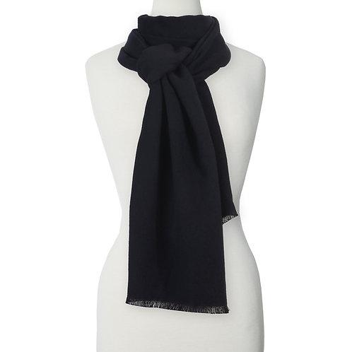 body form displaying plain black scarf looped around neck