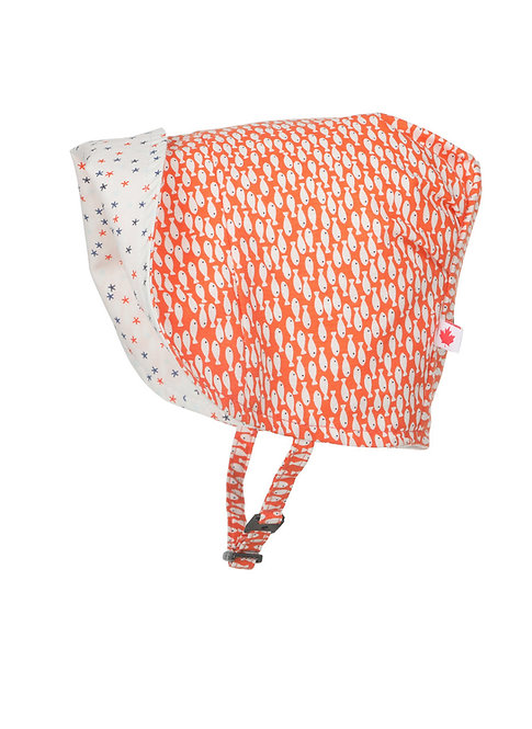 Snug as a Bug Star Fish Reversible Bonnet side 1 brim folded