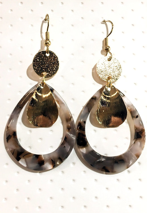 Pair of oval-shaped tortoise shell earrings with round gold disk at top & gold ear wires