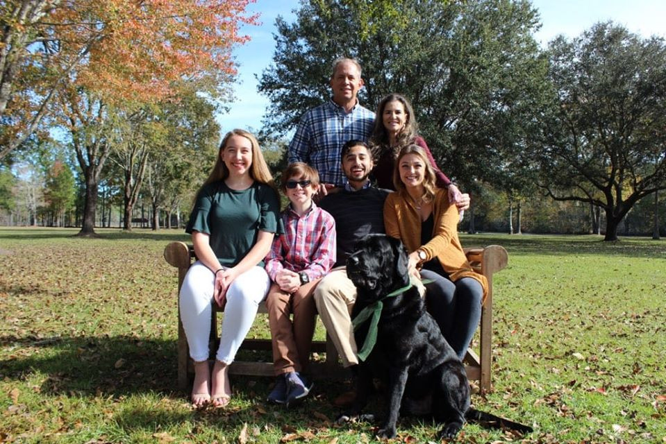 Russ Meade (husband), Maria,  Mallory Meade (stepdaughter), Owen Meade (stepson), Andrew Quick (son), Julia Hartman (son's girlfriend). Front row: Titan (grand-dog)