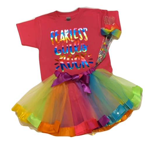 Let's Celebrate Fearless Girls Rock  T-shirt, Tutu and Hair Candy