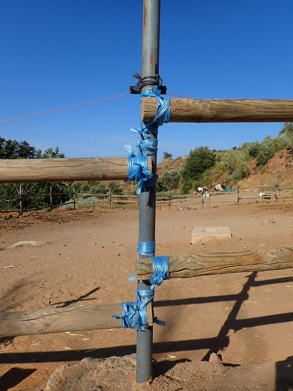 A fence post, repaired with bail string