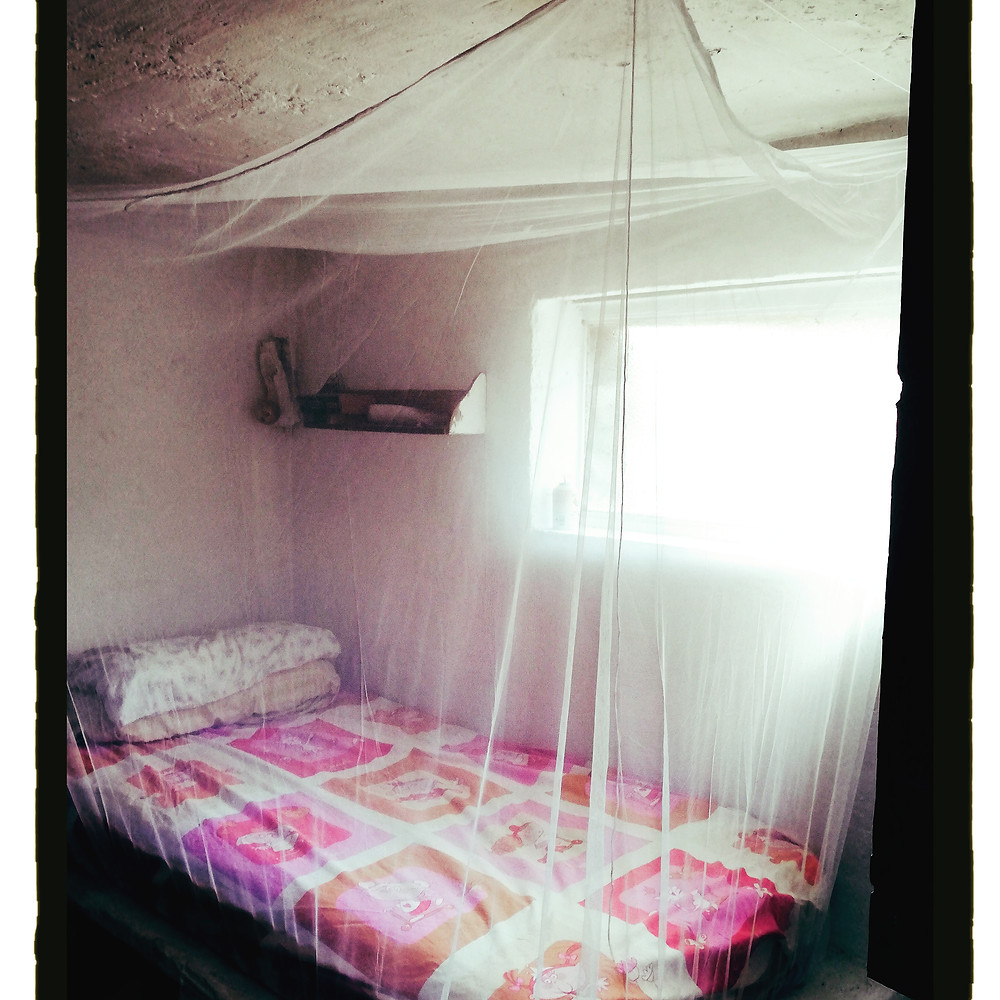 My bed with a mosquito net over it