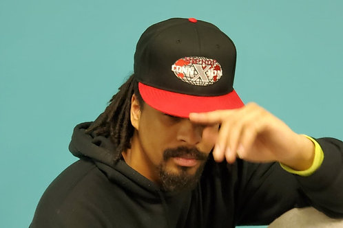 Black Snapback Baseball Cap with Flat Red Rim