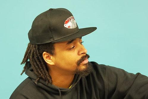 Black Snapback Baseball Cap with Flat Black Rim