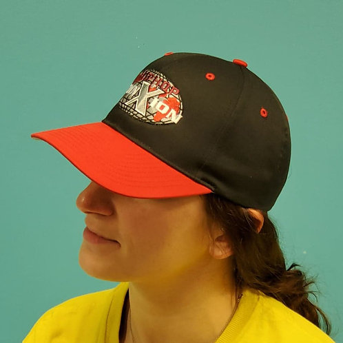 Black Baseball Cap with Red Curved Rim
