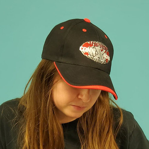 Black Baseball Cap with Black Curved Rim and Red Brim