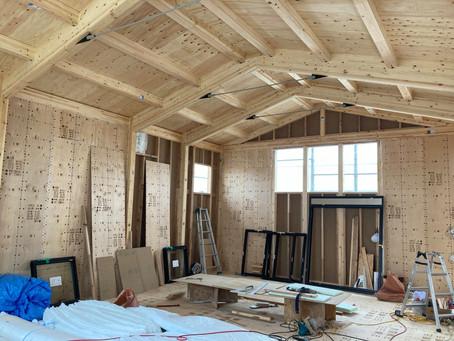 木造のバレエ教室兼用住宅上棟
