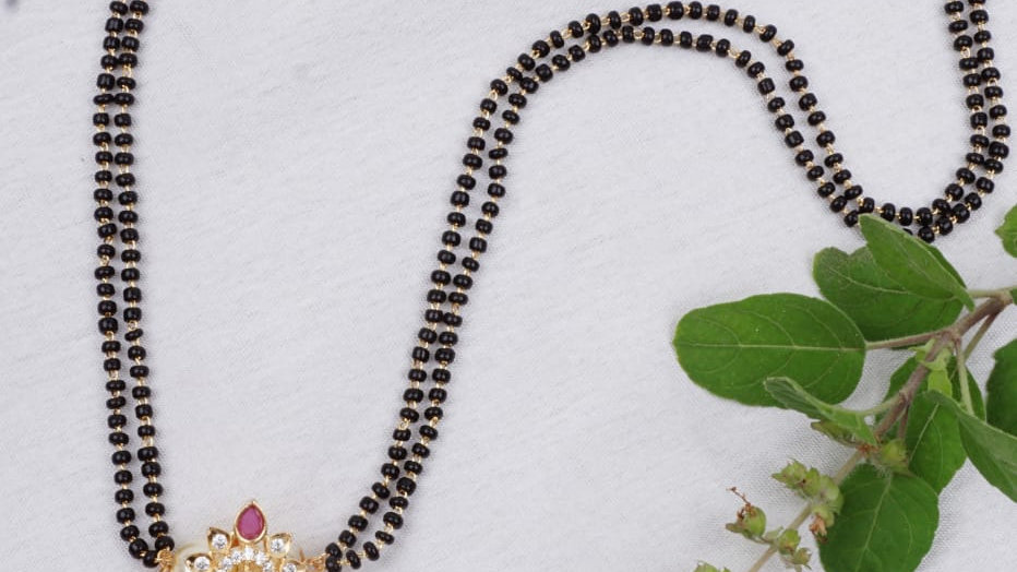 "Black beads 18"" chain(Mangalsutra)"