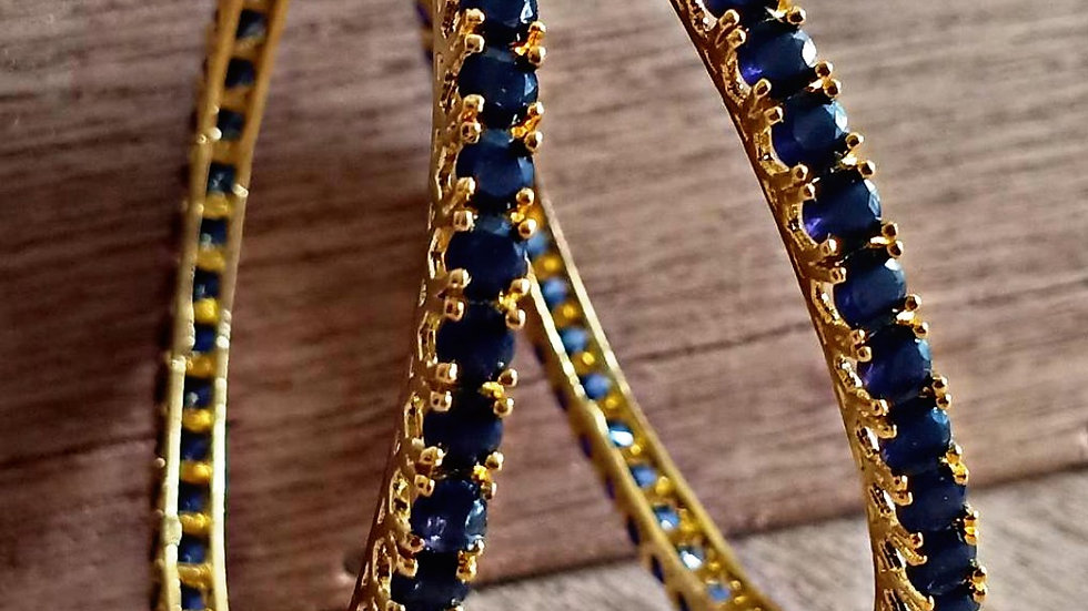 Premium quality Navy Blue stone bangles.