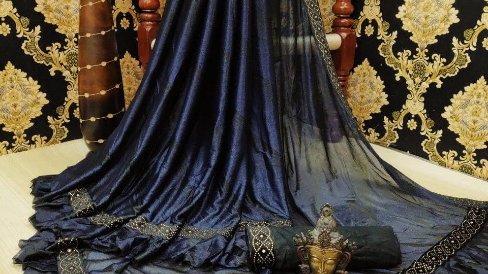 Fancy Licra fabric with ruffle saree