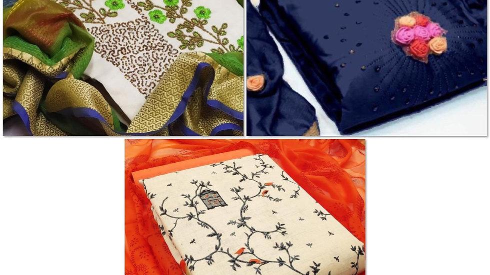 Exclusive Combo-set of 3 Dress Materials