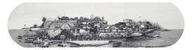"""Dubai to Lahore 15"""" x 60"""", graphite and wash on paper, 2017  In this imagined landscape, I have connected highways in Dubai, via Iran to Pakistan. The metro foot-bridge on Sheikh Zayed road connects to Tehran highway, crossing over Rafsanjan Bridge and finally connecting with the Chappar Rift bridge in Baluchistan, Pakistan. Inspired by a sound-piece I did earlier last year titled: How to Walk from Dubai to Lahore, I have created an easily traversable landscape that doesn't require GPS, planes or vehicles."""