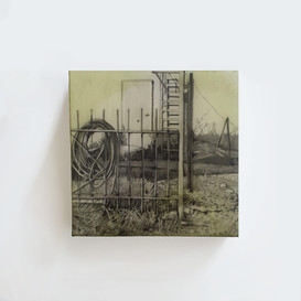 "Almaty, Kazakhstan. 5""x 5"" x 1.5"", graphite and resin on paper mount on wood."