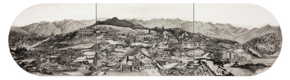 "Water Barriers, 15"" x 60"", graphite and wash on paper.  In 2014 Indian Kashmir faced flooding of biblical nature. The clouds burst and River Jhelum overflowed for days drowning the city of Srinagar under 10-14 ft of water. We watched the restless city of the valley constantly struggling for independence drown and gurgle,  momentarity submerging the line of control."