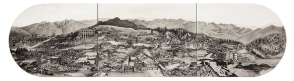"""Water Barriers, 15"""" x 60"""", graphite and wash on paper.  In 2014 Indian Kashmir faced flooding of biblical nature. The clouds burst and River Jhelum overflowed for days drowning the city of Srinagar under 10-14 ft of water. We watched the restless city of the valley constantly struggling for independence drown and gurgle,  momentarity submerging the line of control."""