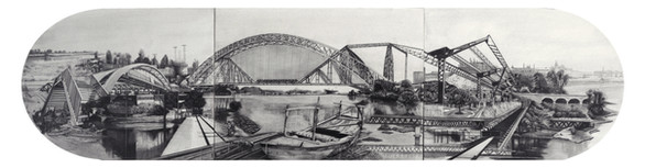 """Intra-Punjab, 15"""" x 60"""", graphite and wash on paper, 2017  Intra-Punjab is a large drawing with various bridges connecting Indian Punjab with Pakistani Punjab that was demarcated in 1947's partition of the Sub-continent. In this utopian image, historic bridges from both sides have been welded together to resolve issue of accessibility. On one  side of River Ravi lies Kartarpur and on the other Dera Baba Nanak. Both these towns are important shrines for the Sikhs. However, after the bridge connecting the two shrines was bombed during 1971, pilgrims have to take a 200 km detour via the Wagha border in Lahore."""