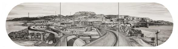 Karachi to Jodhpur, 15 x 60, graphite and wash on paper.