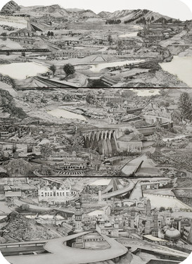 """GT Rd Pt II, Torkham to Lahore, 33"""" x 24"""", graphite on paper, 2020  GT Road series maps the walkable route of the 1700-mile, pre- 3rd BCE Grand Trunk Road that connects Afghanistan, Pakistan, India, and Bangladesh. From Kabul to Torkham, Khyber Pass to Lahore, Wagha to Kolkata, I have mapped the region village by village in the detailed graphite landscapes. My smaller works are literal segments of no-man's land, Kos minars and highway bridges. My recent fascination with the GT Road stems from the desire to highlight various possibilities of horizontal trade and exchange within the South Asian region. This is the last leg of the journey which begins from Wagha border and ends in Kolkatta, India. This is the second drawing in the series which maps the walkable route from Torkham border crossing in Afghanistan to Lahore, Pakistan."""