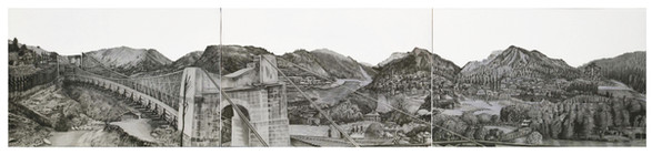 "Sharda Peeth, 10"" x 45"", graphite and wash on paper, 2020   The 6th century Sharada temple has played a significant historical role in Kashmiri Pandits' religious culture. It is believed to be the earliest shrine dedicated to Shaktism, or Hindu goddess worship in Kashmir. After the partition of India, Sharda Peeth came within the boundaries of Pakistan administred Kashmir. The original route which was popular before 1947 is via Kupwara, Chokibal, Tangdar (Karnah) and Teetwal upto Neelam River which is the Line of Control between the two parts of Kashmir in that area. Presently, a paved road is available upto Teetwal. After the earthquake in 2005, a crossing point was established for divided families at Teetwal and a foot-bridge was constructed to cross the Neelam river ( i.e. LoC) to reach Chaliana village of Pakistan Kashmir on the other side. This work focuses on Teetwal Crossing and a desire to develop this corridor on the same lines as Kartarpur Corridor - a religious corridor open to day piligrims who do not require visas from the Pakistani Embassy in New Delhi."