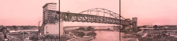 "Kartarpur footbridge, 14"" x 60"", graphite and wash on watercolour board, 2019"