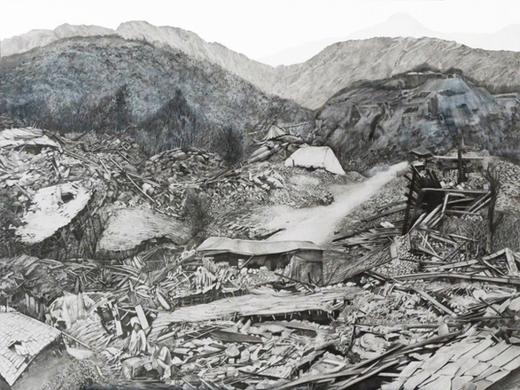 """Nisa in Kangra 1905, 36"""" x 27""""graphite and wash on paper, 2020.  While reseraching for a essay on material memories related to my grandmother, I had to interview various family members to understand her journey.I was surprised to discover that she was briefly abandoned during the catastrophic earhtquake that destroyed Kangra in 1905. I was inspired to make this drawing of her in Kangra, tucked away safely in the white tent.   For more on the essay:"""
