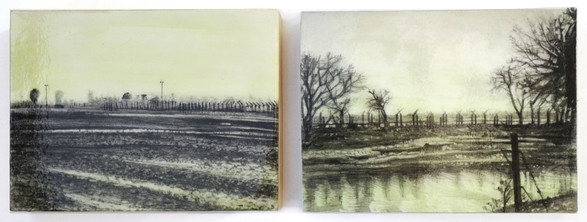 "Punjab Border, 5"" x 7"", graphite and resin on paper, mount on wood."