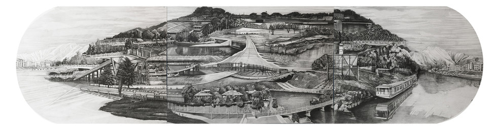 """Greater Kashmir, 15"""" x  60"""", graphite and wash on paper, 2016"""
