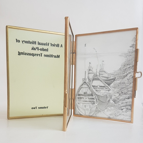 A Brief Visual History of Indo-Pak Maritime Trespassing - Volume Two, 2019 Graphite on mylar in brass frames,11 x 9 cm.