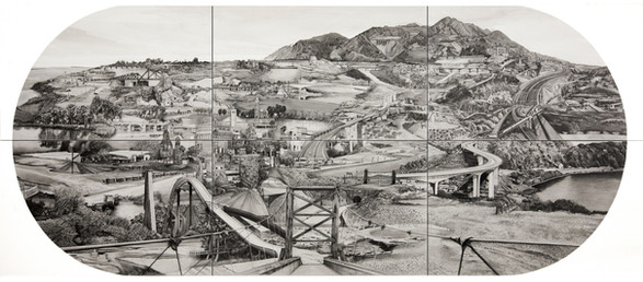 """Sialkot to Jammu, 30"""" x 66"""", graphite and wash on paper.  Sialkot and Jammu were once twin cities with their own Silakot to Jammu Line established in 1890. When both the cities fell under the opposite sides of the border, the train route was permanently suspended. Before Partition, the Sialkot Jammu line was a busy route with traders, businessmen and tourists making frequent day visits that took mere 90 mins. With the blockage of this important route, trade and production of sports equipment (Kashmir Willow export) and rice were gravely impacted. In this drawing, I have opened up the route and have the train line up and running again. It begins from Sialkot, on the bottom left corner and terminates in Jammu's old Vikram chowk station.  Documentation made possible by Campus Art Dubai Grant."""