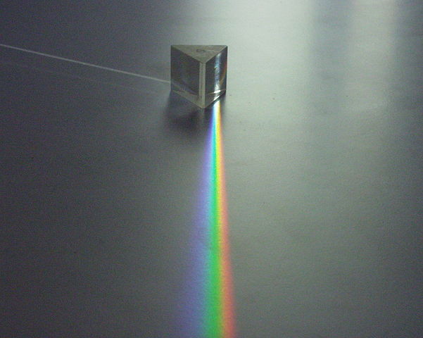 A triangular prism refracting and dispersing visible light.