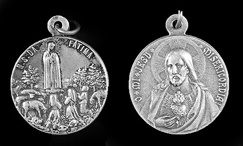 Our Lady of Fatima / Sacred Heart Medal (Nickel Silver)