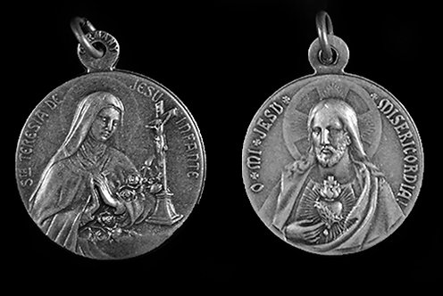 St. Therese / Sacred Heart Medal (Nickel Silver)