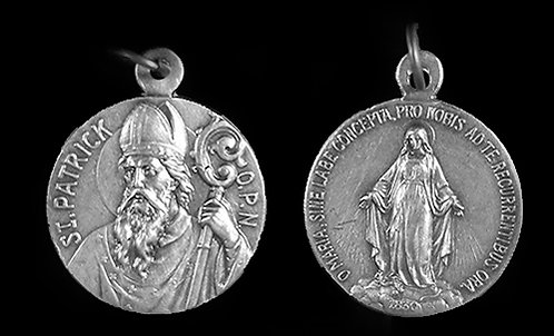 St. Patrick  / Miraculous Medal (Nickel Silver)
