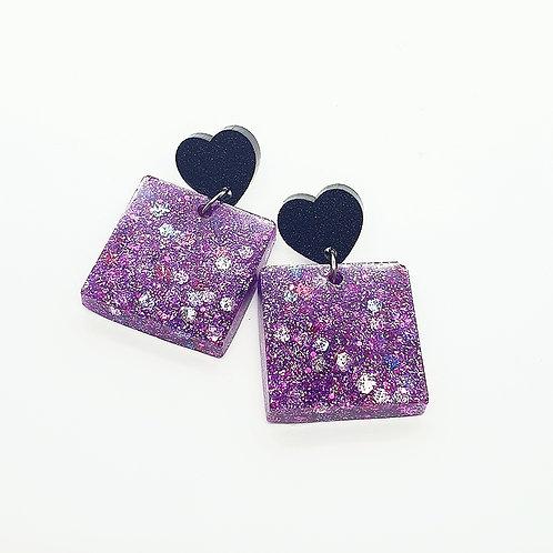 Purple Square Glitter Dangles