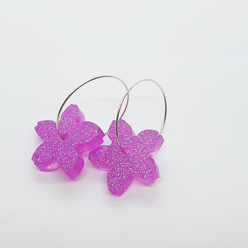 'Spring Fling' Small Flower Hoops Neon Purple