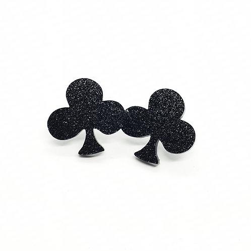 Queen of Clubs Black Studs