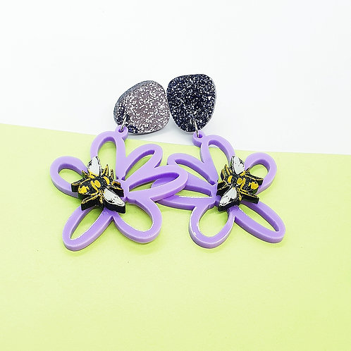 Pastel Purple 'Busy Bee Daisy Days' Dangles