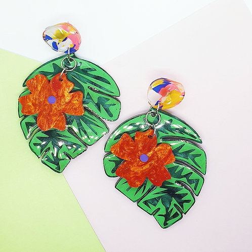 'Monstera Bloom' Statement Dangles
