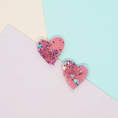 Fairy Floss Valentine Midi Heart Studs #1