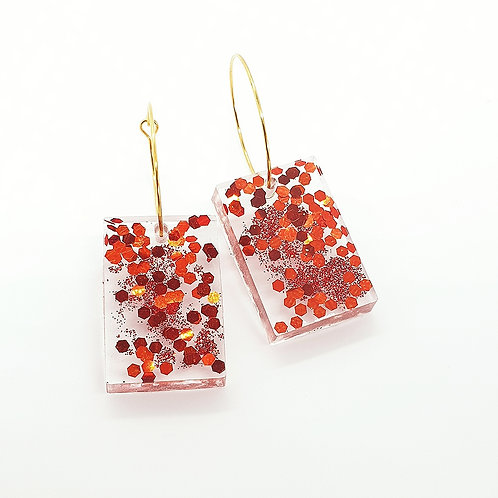 'Festive Fireworks' Rectangle Hoops Red