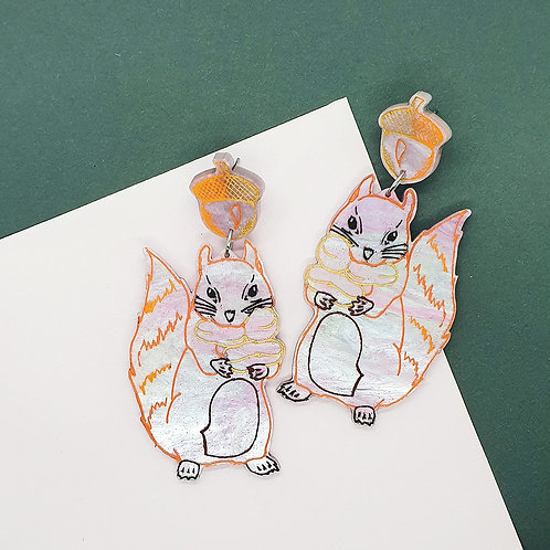 'Sneaky Squirrel' Statement Dangles